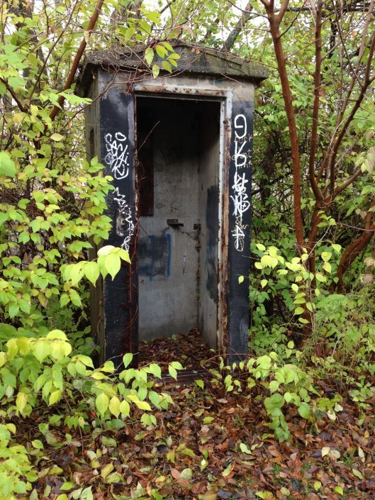 train conductor's phone booth in Nora Monon Trail